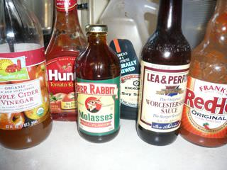Barbecue sauce ingredients, ready to go