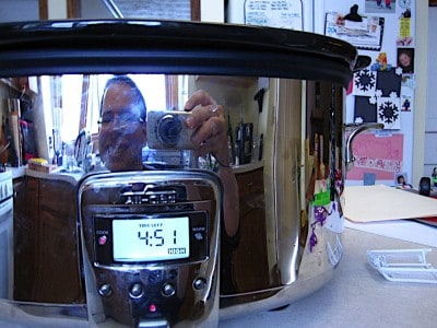 Reflection selfie in the slow cooker