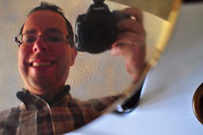 """Self portrait: """"Reflections in a Pressure Cooker Lid"""""""