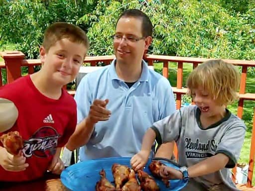Dad and kids with turkey legs