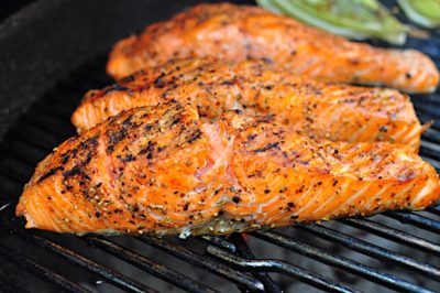 Salmon filets on the grill