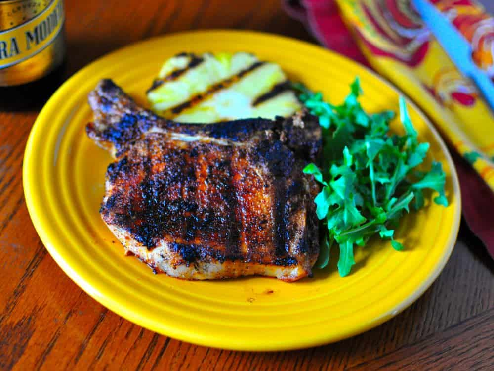 Grilled Pork Chops with Ancho Chile Spice Rub - Dad Cooks Dinner