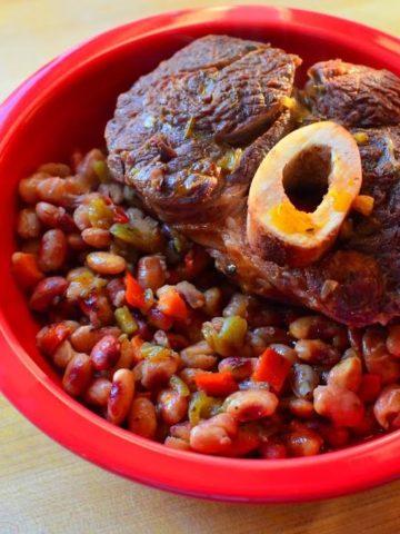 Pressure Cooker Beef Shank and Anasazi Beans   DadCooksDinner.com
