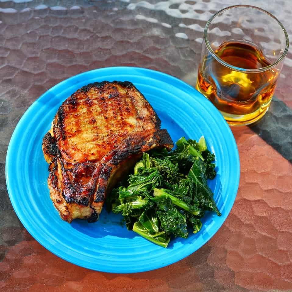 Grilled Pork Chops with Lemon Bourbon Glaze