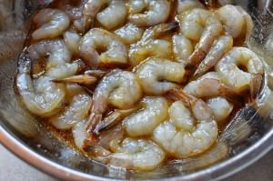Marinating the shrimp