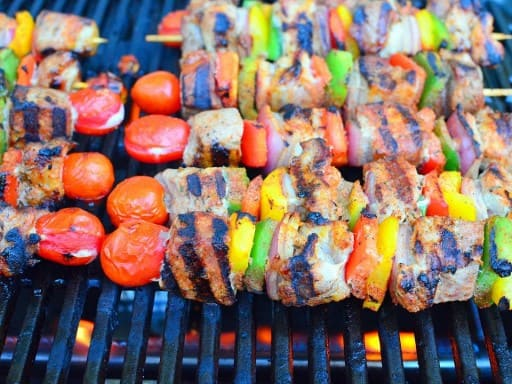 Grilled Pork Shoulder Kebabs with Peppers, Onions, and Spice Rub| DadCooksDinner.com