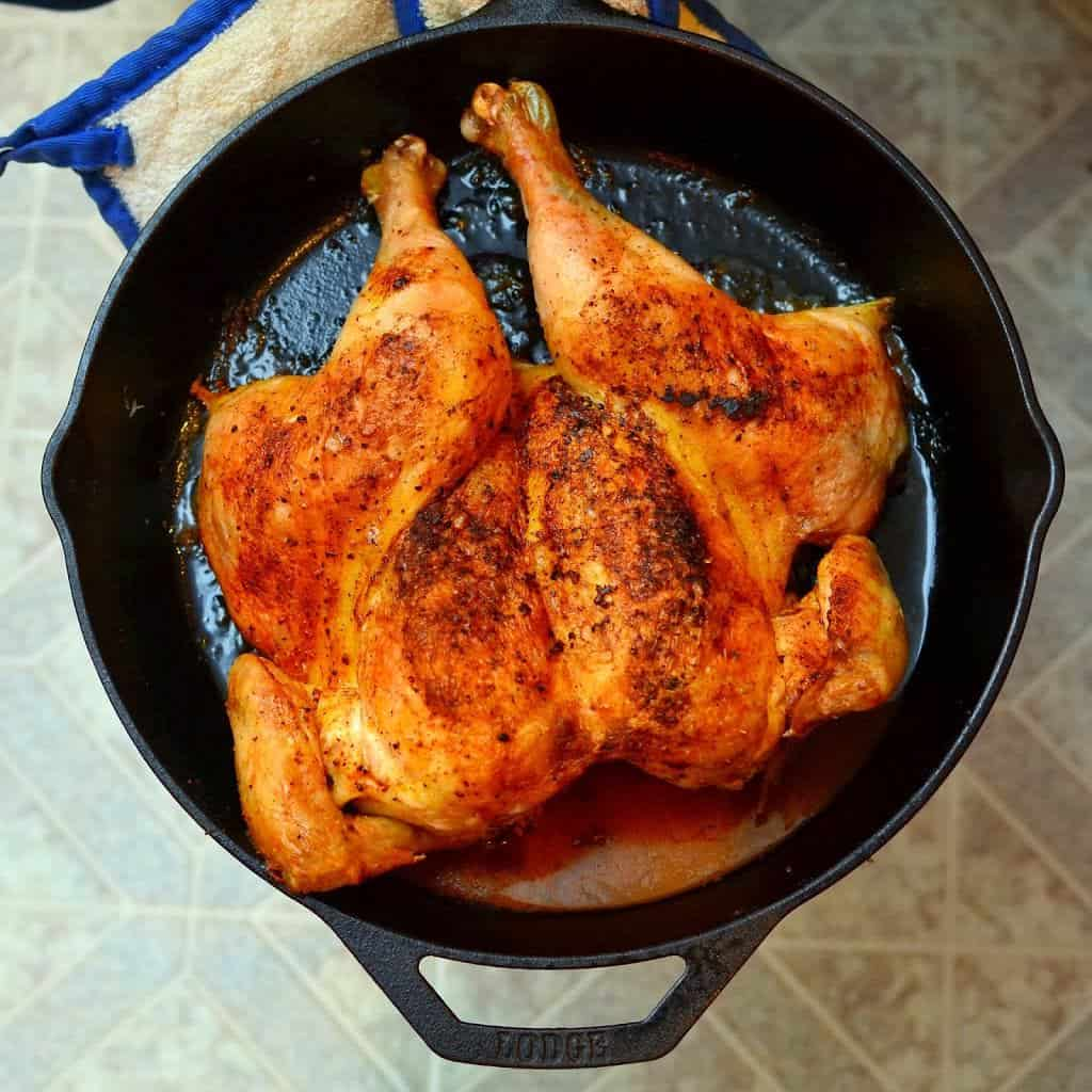 Cast Iron Roasted Butterflied Chicken