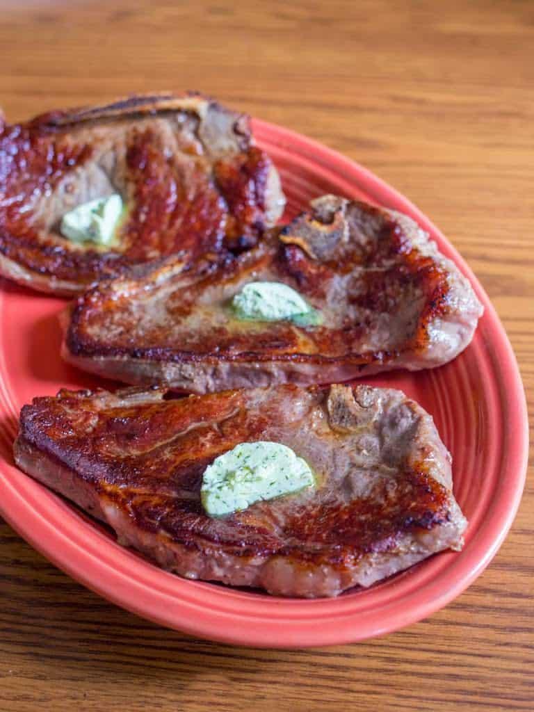 Sous Vide Strip Steaks with Maitre d'Hotel Butter