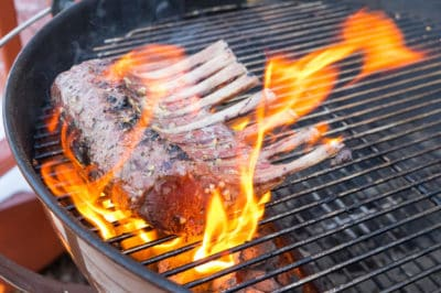 Reverse Seared Rack of Lamb on the Grill