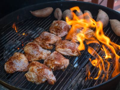 Chicken thighs over indirect heat - away from the fire