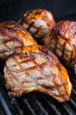 Grilled Double Cut Ribeye Pork Chops With Rosemary, Honey, and Lemon Glaze