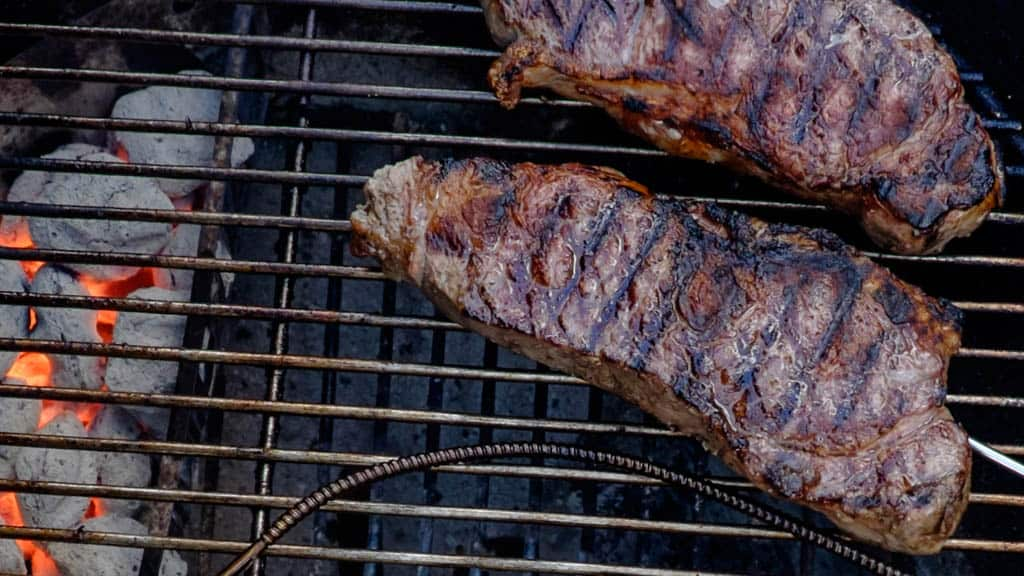 Grilled Thick Cut New York Strip Steaks Sear And Move Style Dadcooksdinner