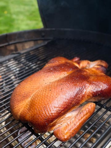 Browned duck on a grill, with coals behind it