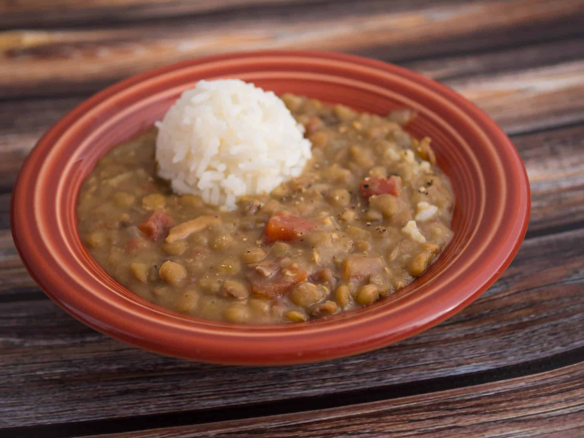 Pressure Cooker Lentil and Bacon Soup | DadCooksDinner.com