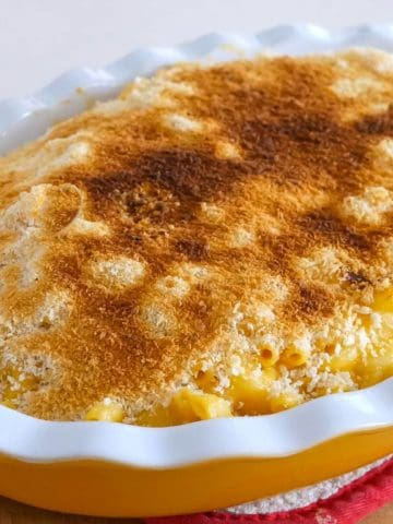 A oval platter of macaroni and cheese