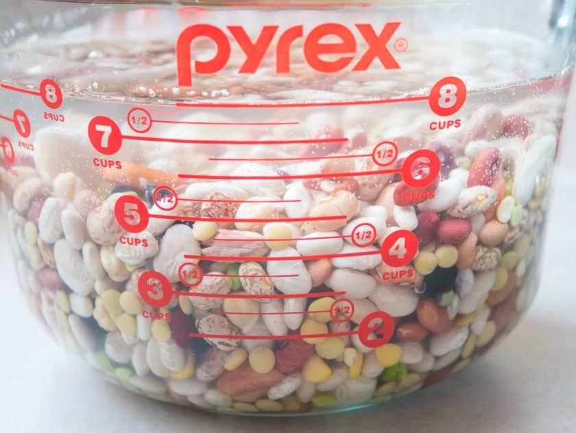 A 2 quart measuring cup full of mixed beans.