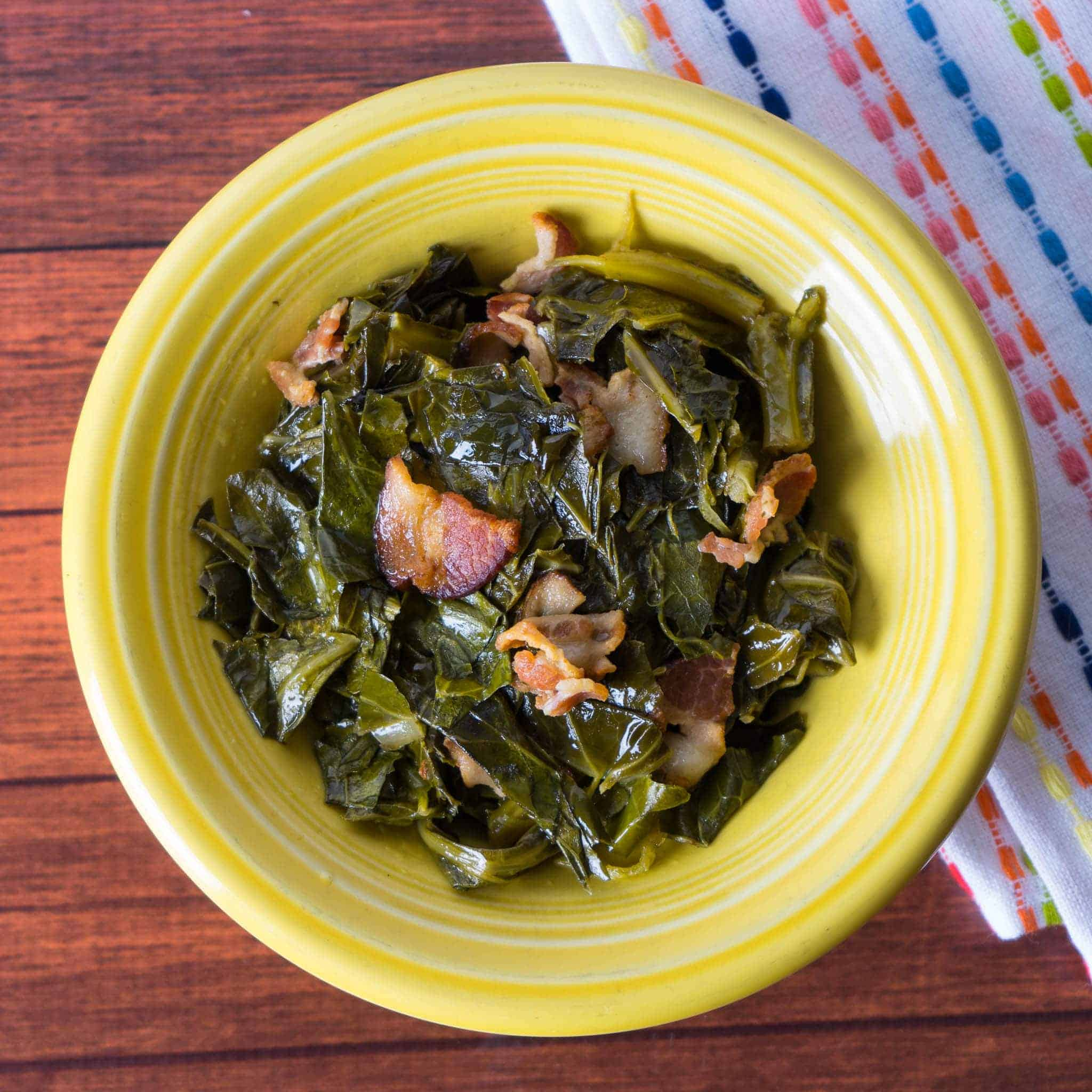 Pressure Cooker Collard Greens with Bacon - Dad Cooks Dinner