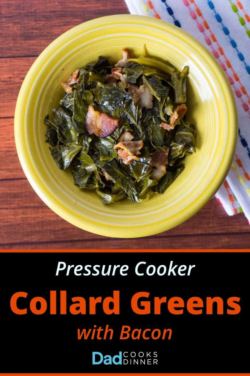 Overhead picture of collard greens with bacon in a yellow bowl with recipe title below