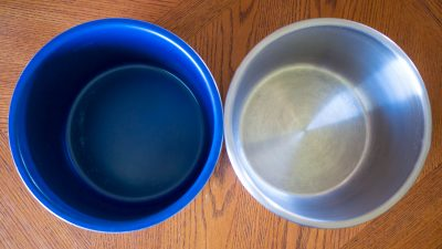 Ceramic nonstick on the left, stainless on the right