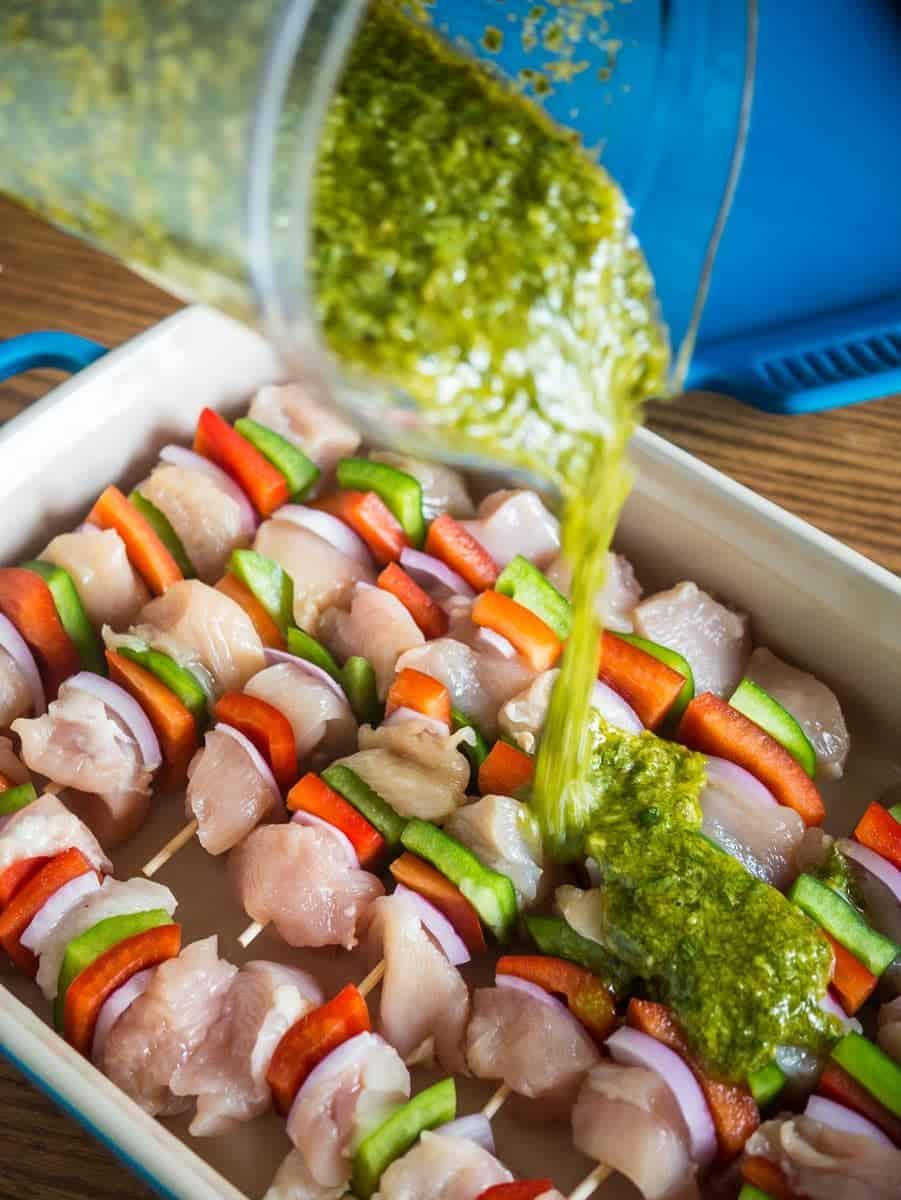 Grilled Chicken Kebabs With Italian Salsa Verde | DadCooksDinner.com