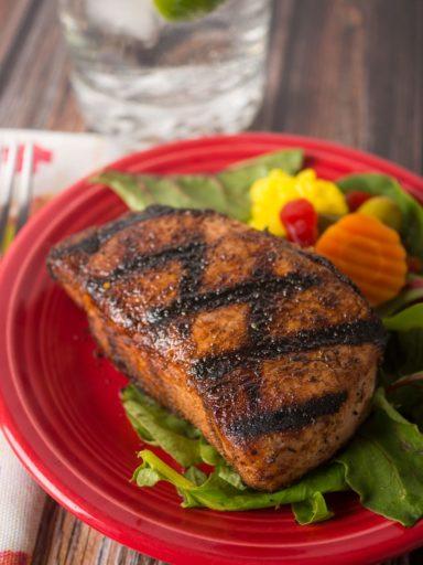 Grilled New York Pork Chops with West Indies Spice Rub   DadCooksDinner.com