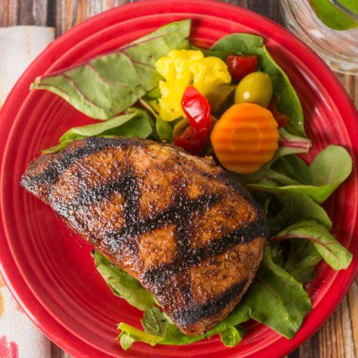Grilled New York Pork Chops with West Indies Rub   DadCooksDinner.com