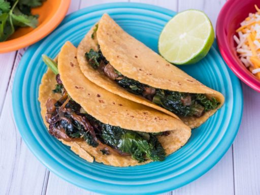 Pressure Cooker Kale Tacos with Caramelized Onions | DadCooksDinner.com