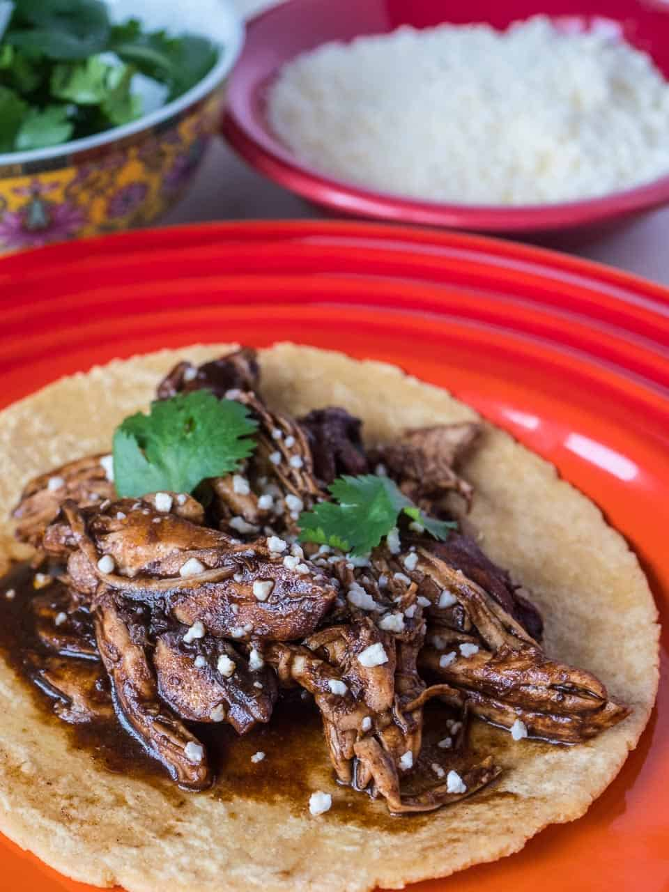Pressure Cooker Shredded Chicken with Black Mole Sauce | DadCooksDinner.com