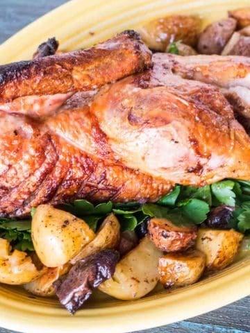 Rotisserie Duck with Drip Pan Potatoes   DadCooksDinner.com