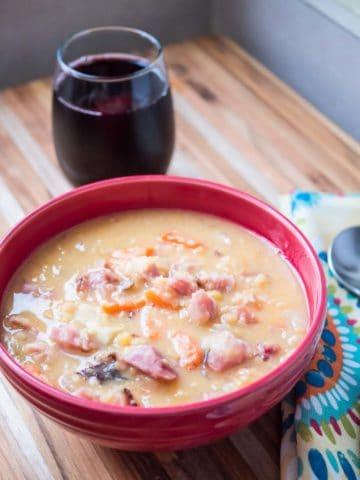 Pressure Cooker Ham and Yellow Split Pea Soup | DadCooksDinner.com