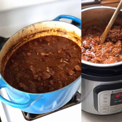 Ready for the Super Bowl - two big pots of chili   DadCooksDinner.com