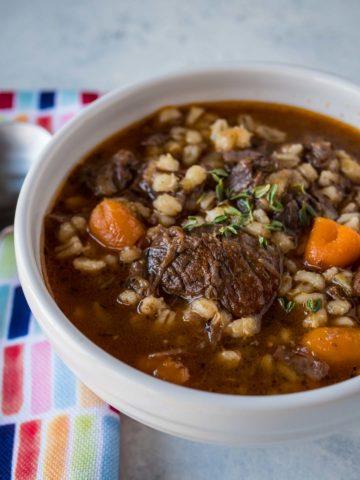 Pressure Cooker Beef and Barley Soup | DadCooksDinner.com