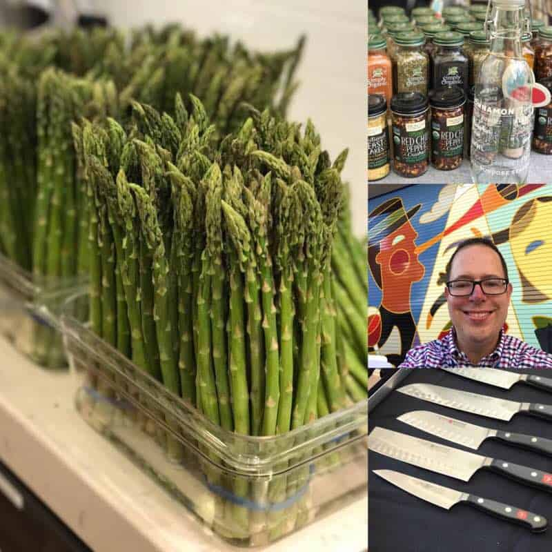Everything Food Conference 2017 Collage of asparagus, spices, me in front of a colorful mural, and knives | DadCooksDinner.com