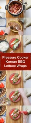 Tower image of the different steps to make pressure cooker Korean bbq lettuce wraps.
