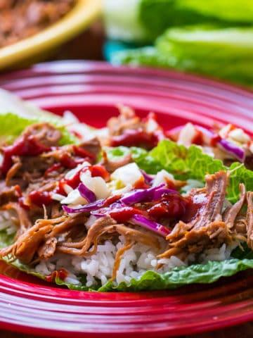 Pressure Cooker Korean BBQ Pork Lettuce Wraps - Portrait | DadCooksDInner.com