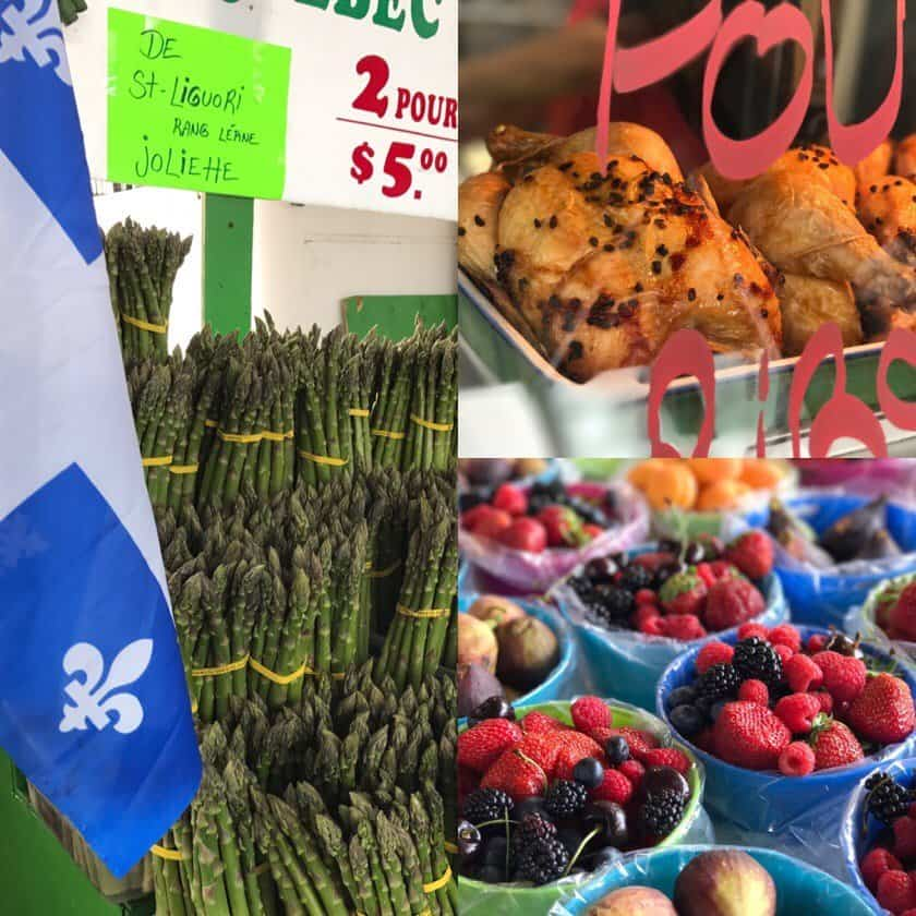 Selections from Marche Jean-Talon - collage of asparagus, rotisserie chicken, and mixed berries | DadCooksDinner.com