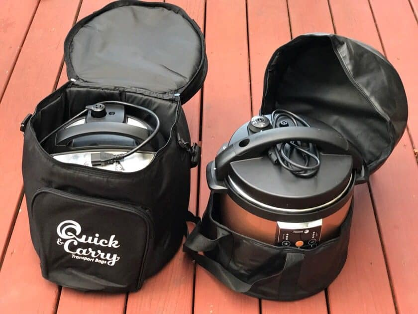 Electric Pressure Cooker Tote Bags - Open with cookers inside | DadCooksDinner.com