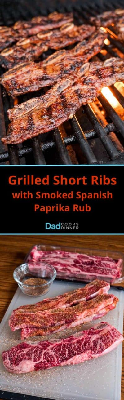 Grilled Short Ribs with Smoked Spanish Paprika Rub Tower - Seasoning ribs on the bottom, grilling ribs on the top