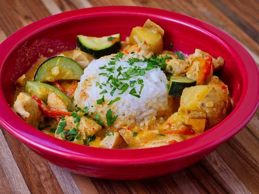 Pressure Cooker Thai Yellow Curry with Chicken   DadCooksDinner.com