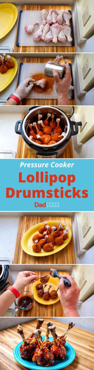 Pressure Cooker Lollipop Drumsticks - Step By Step Tower   DadCooksDinner.com