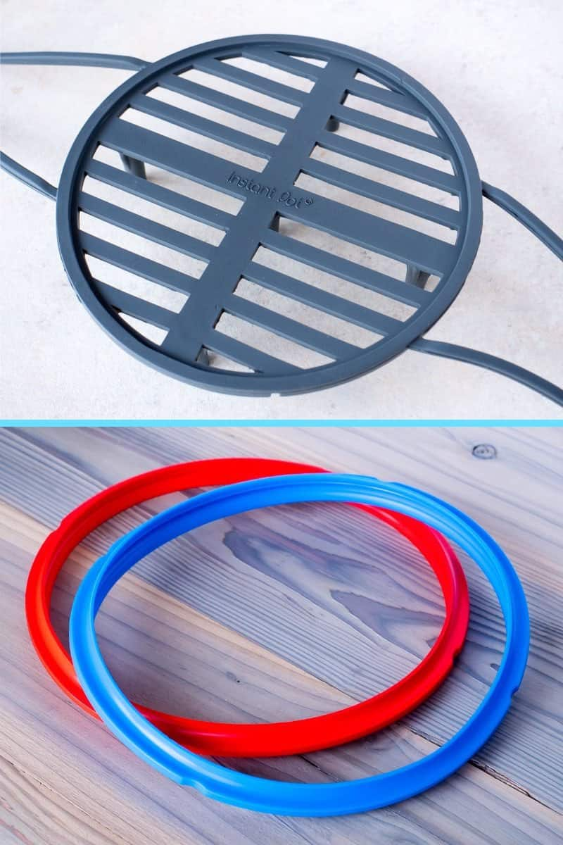 Instant Pot Silicone Steam Rack and Sealing Rings in Red and Blue-Tower Image | DadCooksDinner.com