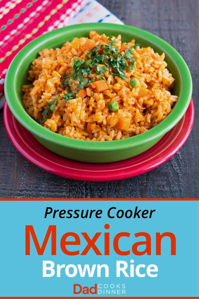 Bowl of Mexican brown rice with napkins