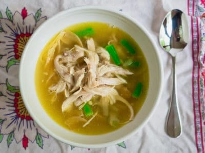 Pressure Cooker Shredded Chicken and Noodle Soup with Vegetables