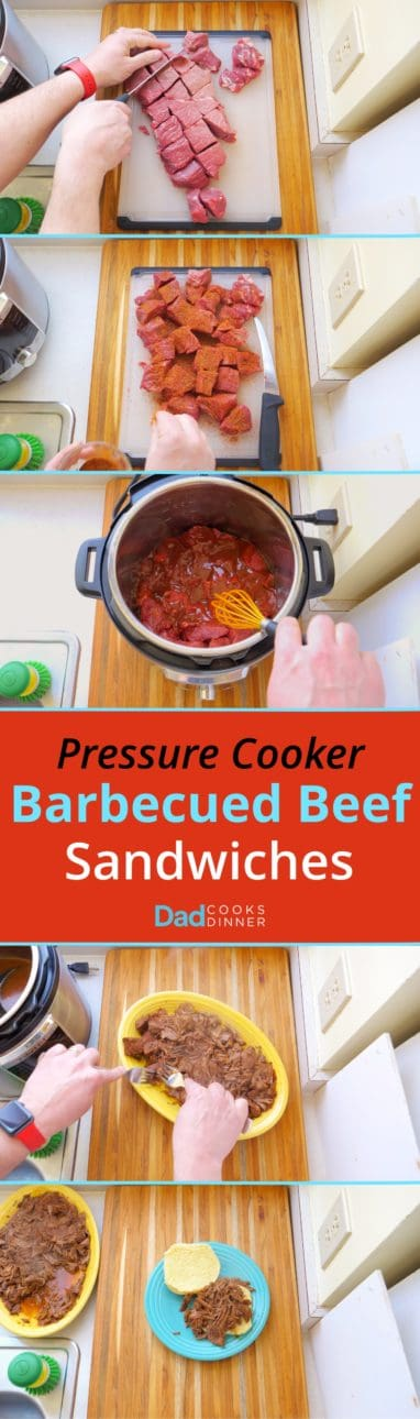 Pressure Cooker Barbecued Beef Sandwiches - Tower of process steps. Cut the beef into cubes, sprinkle with BBQ rub, top with BBQ sauce, shred with forks, serve