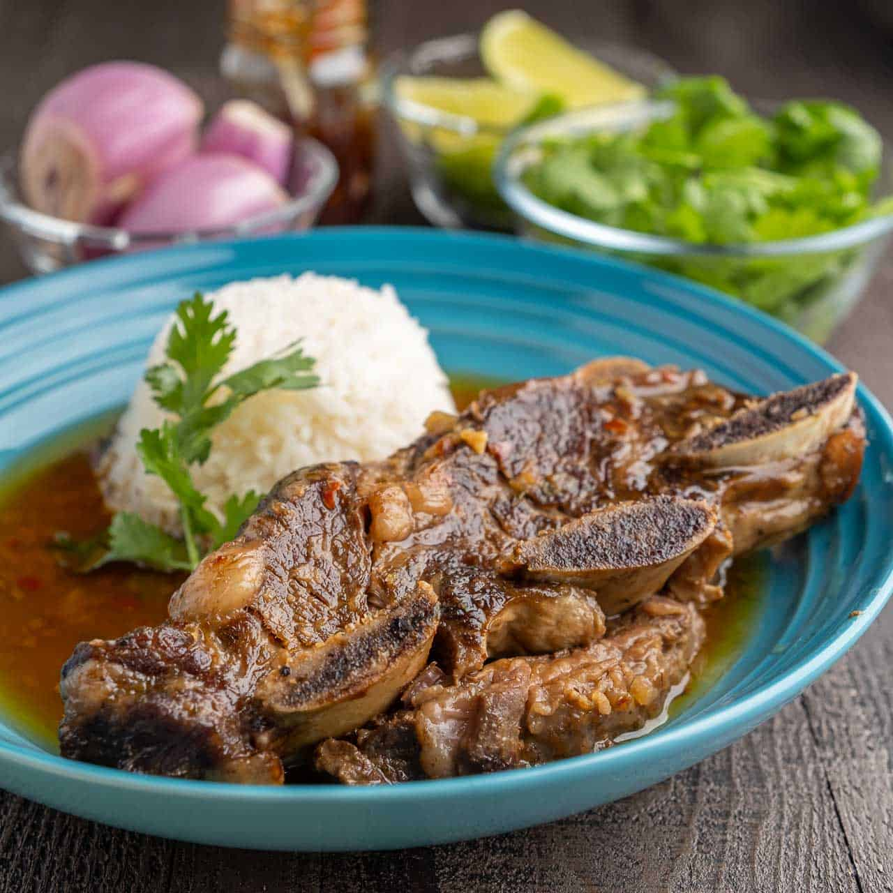 Short ribs with coconut curry sauce in a teal bowl with rice, and bowls of cilantro, shallots, limes, and curry paste in the background