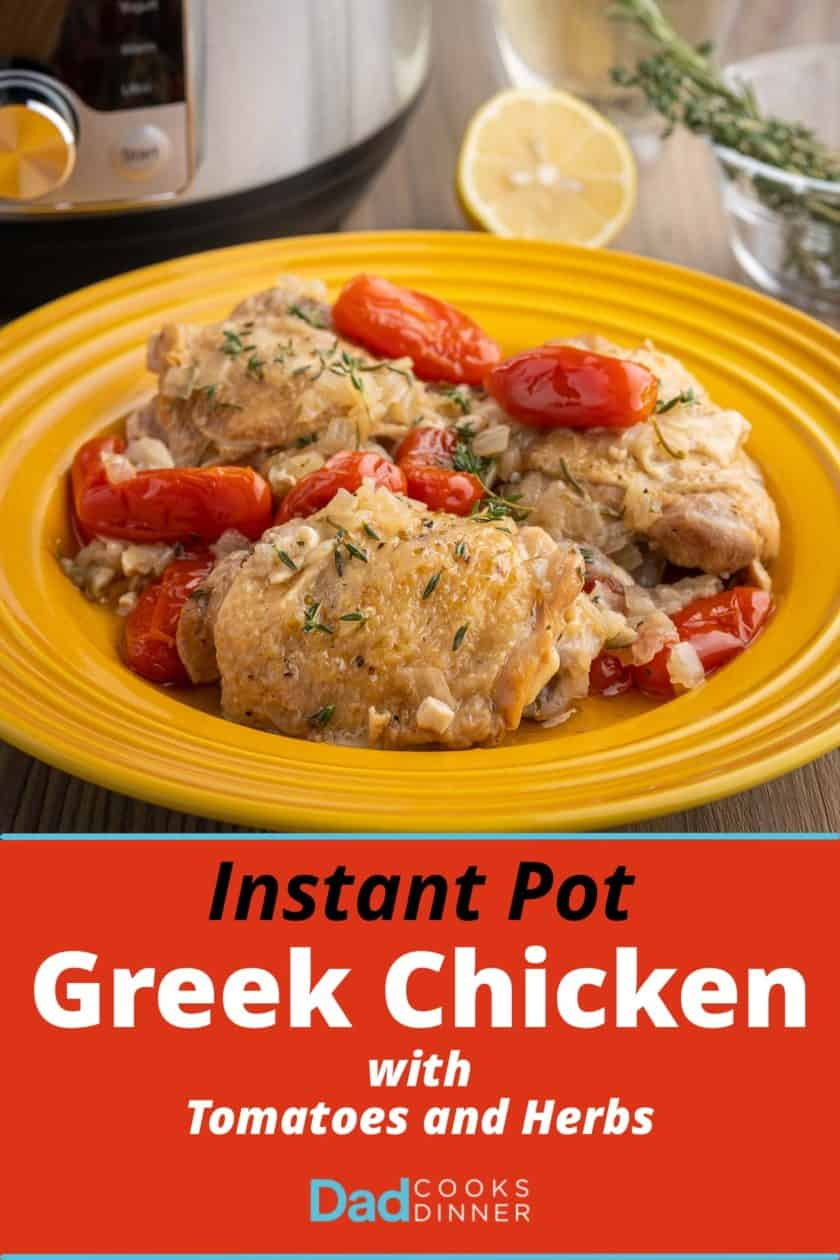 A plate of cooked chicken thighs, tomatoes, and onions, sprinkled with herbs, with a pressure cooker, herbs, and a lemon in the background