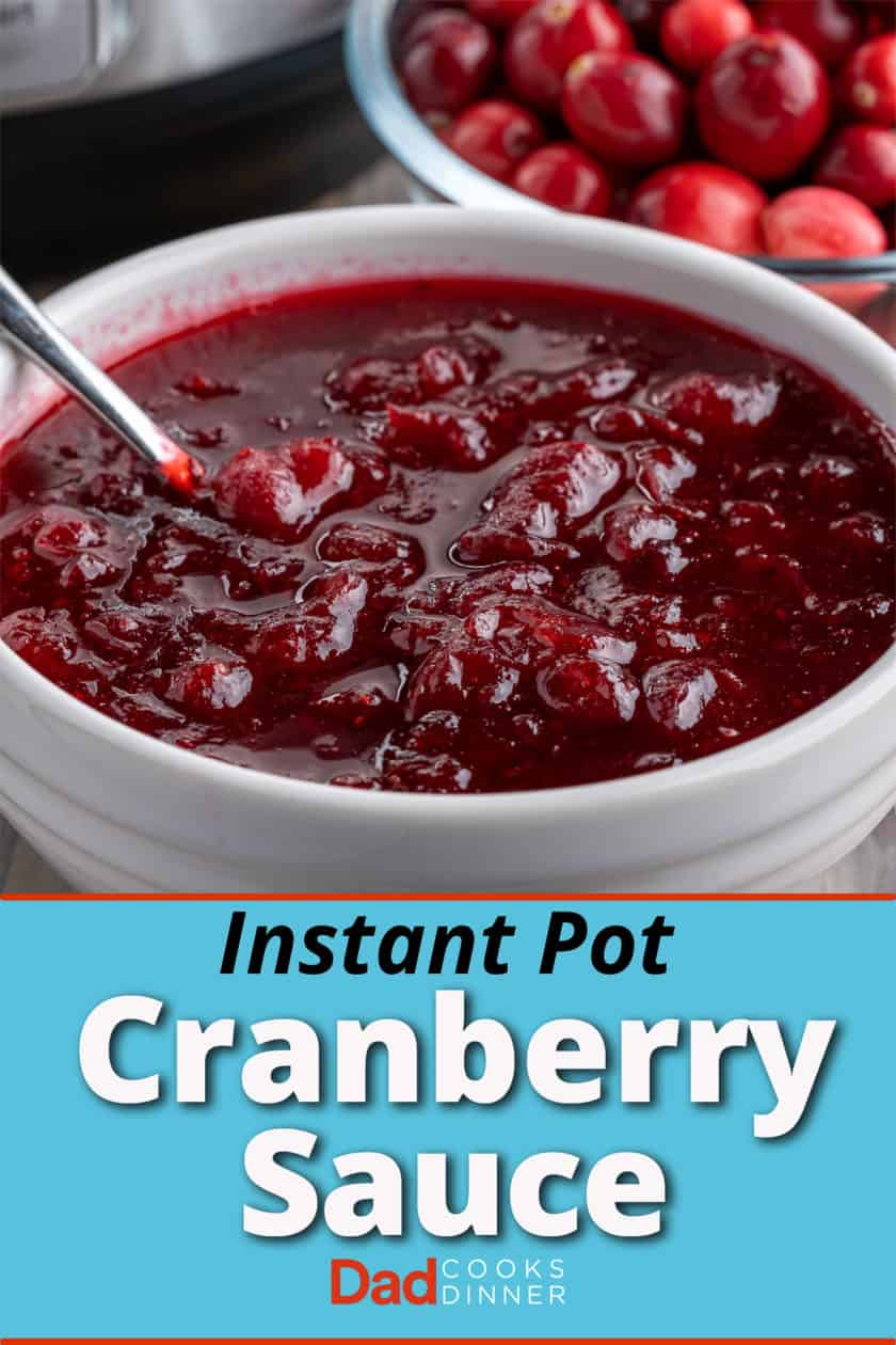 A bowl of cranberry sauce with a bowl of cranberries and an Instant Pot in the background
