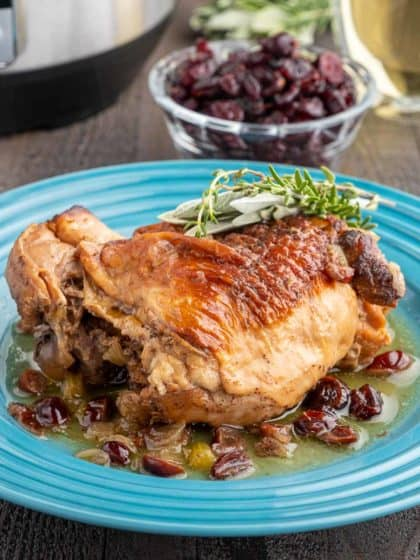 A turkey thigh on a bed of cranberries and onions and sauce, with a sprig of thyme and sage on top, and a cup of cranberries in the background