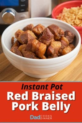 A bowl of red braised pork belly cubes in front of an Instant Pot and a bowl of rice