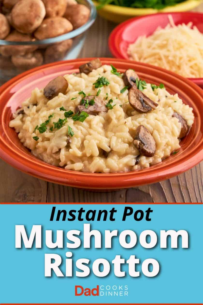 A bowl of mushroom risotto, with mushrooms, cheese, and parsley in the background
